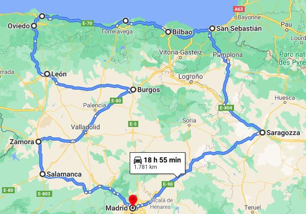 Spagna Settentrionale Cartina.Itinerario Spagna Del Nord